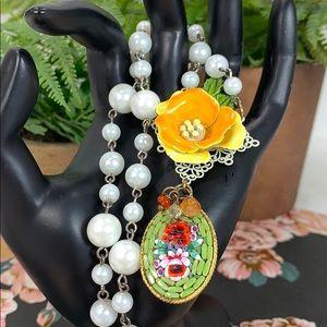 Enamel flower micro mosaic pearl vibrant necklace